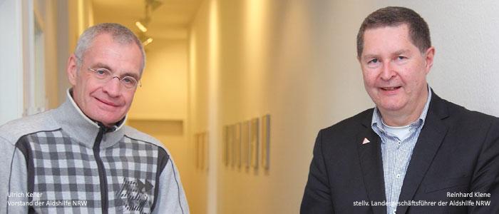 Ulrich Keller, Vorstand der Aidshilfe NRW und Reinhard Klenke, stellv. Landesgeschäftsführer der Aidshilfe NRW